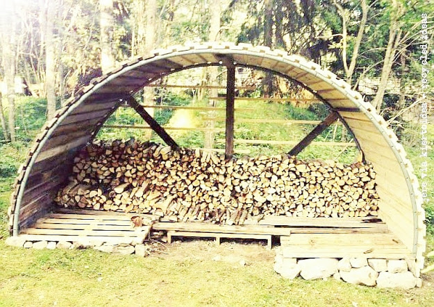recycling trampoline wood shed