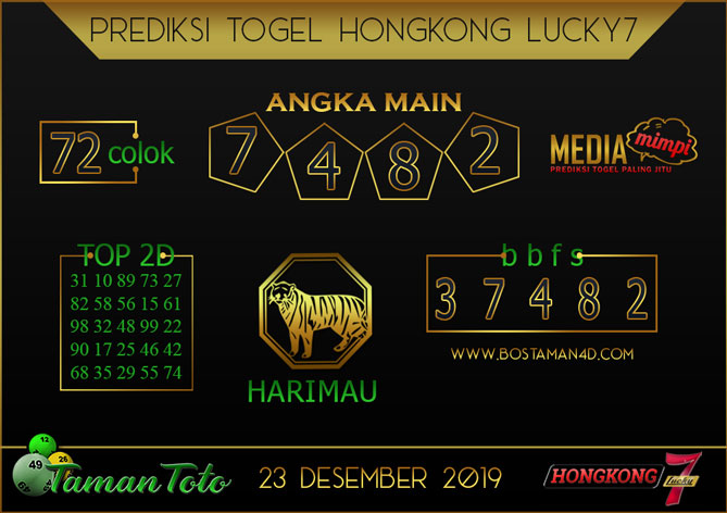 Prediksi Togel HONGKONG LUCKY 7 TAMAN TOTO 23 DESEMBER 2019