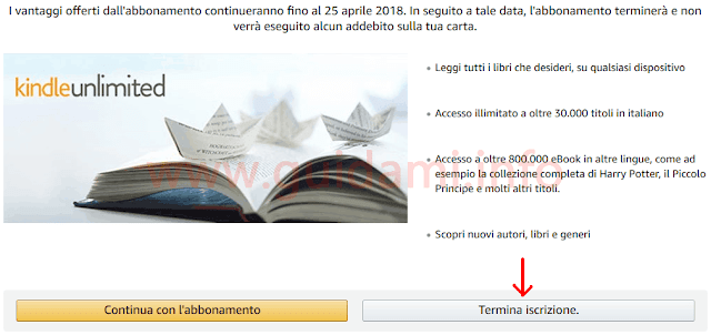 Amazon pagina per terminare iscrizione Kindle Unlimited