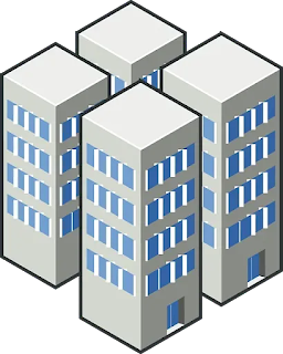 Imagem desenho que mostra 04 blocos de edifícios de 4 andares na cor cinza com janelas azuis ilustrando texto sobre o reajuste no programa de governo da casa verde amarela.