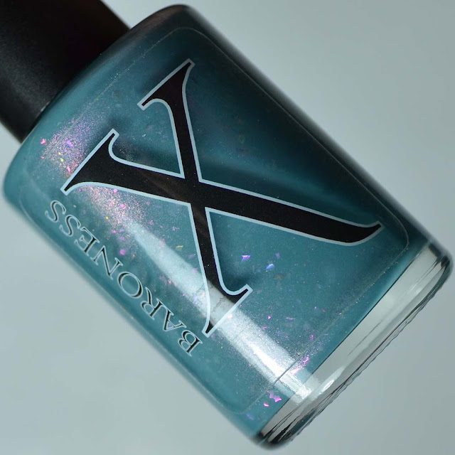 teal nail polish with color shifting shimmer