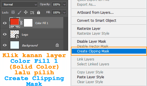 Cara merubah warna Smart Object dengan Solid Color di Photoshop