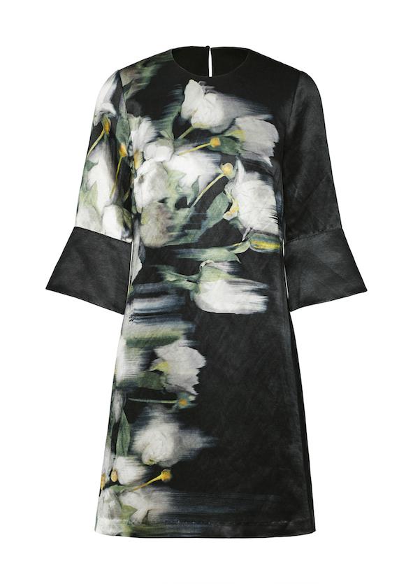 Black dress with hand drawn print on organic linen