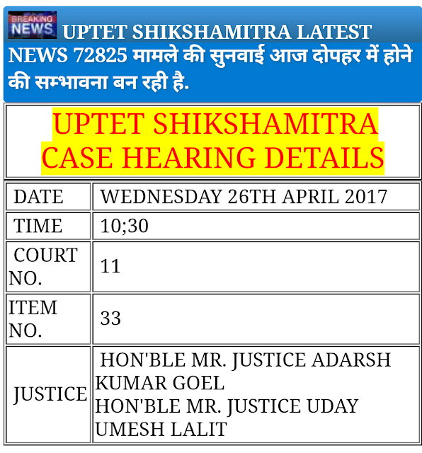 UPTET 72825 SHIKSHAMITRA LATEST NEWS: शिक्षक भर्ती मामले की सुनवाई आज दोपहर में होने की सम्भावना