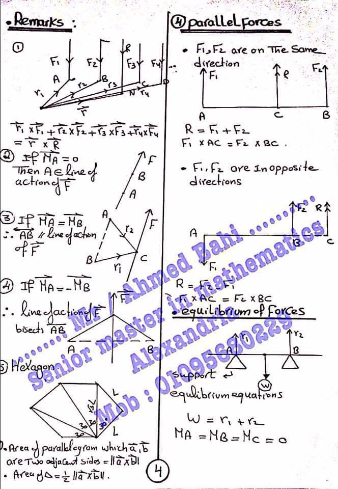 مراجعة قوانين الاستاتيكا للصف الثالث الثانوي لغات أ/ أحمد باهي 5