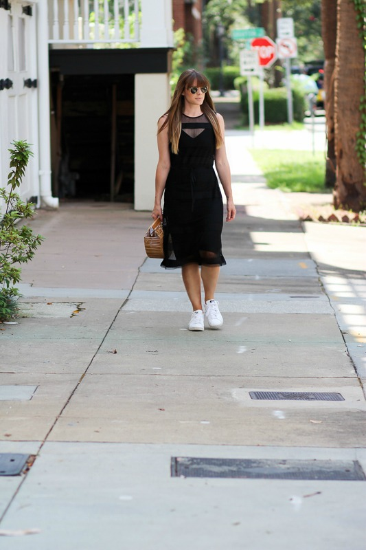 Styling a dress and sneakers