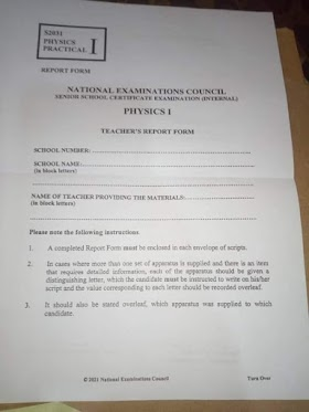 NECO 2021/2022 PHYSICS PRACTICAL ANSWERS IS OUT
