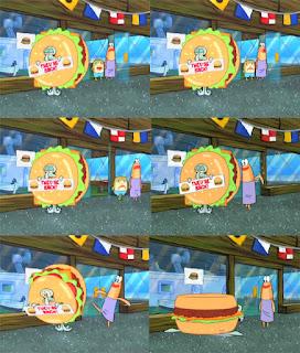 Polosan meme spongebob dan patrick 17 - Squidward jadi maskot pakai kostum burger krabby patty