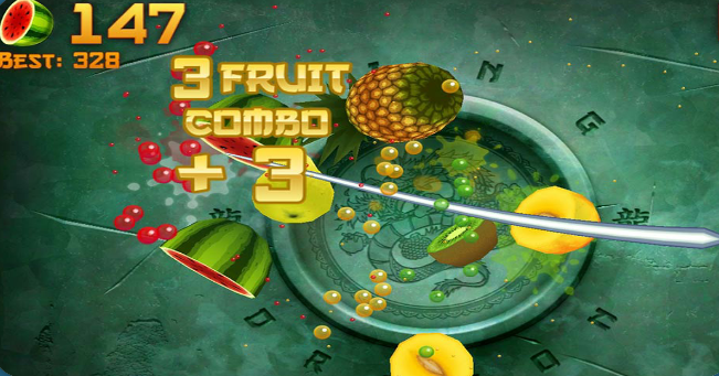 What do you do to fruits in the game Fruit Ninja?