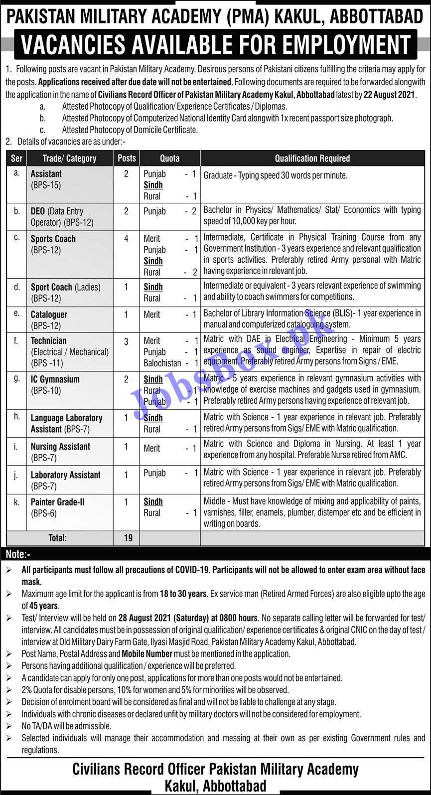 Pakistan Military Academy PMA Jobs 2021 in Pakistan