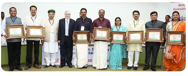 Award winning MPs with Hon'ble Governor: L to R : Shrirang Appa BArne, Bartruhari Mahtab, Arjun Ram Meghwal (MoS), Justice (Retd) P Sathasivam (Hon'ble Governor of Kerala), N K Premachandran, K N Balagopal, Dr T N Seema, Rajeev Shankarrao Satav, Dhananjay Mahadik, Dr Heena V Gavit