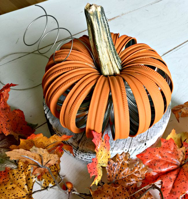 Mason jar lid pumpkin with real pumpkin stem