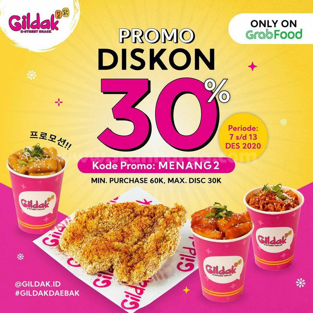 Promo Gildak Diskon 30% Khusus Pesan Antar via Grabfood