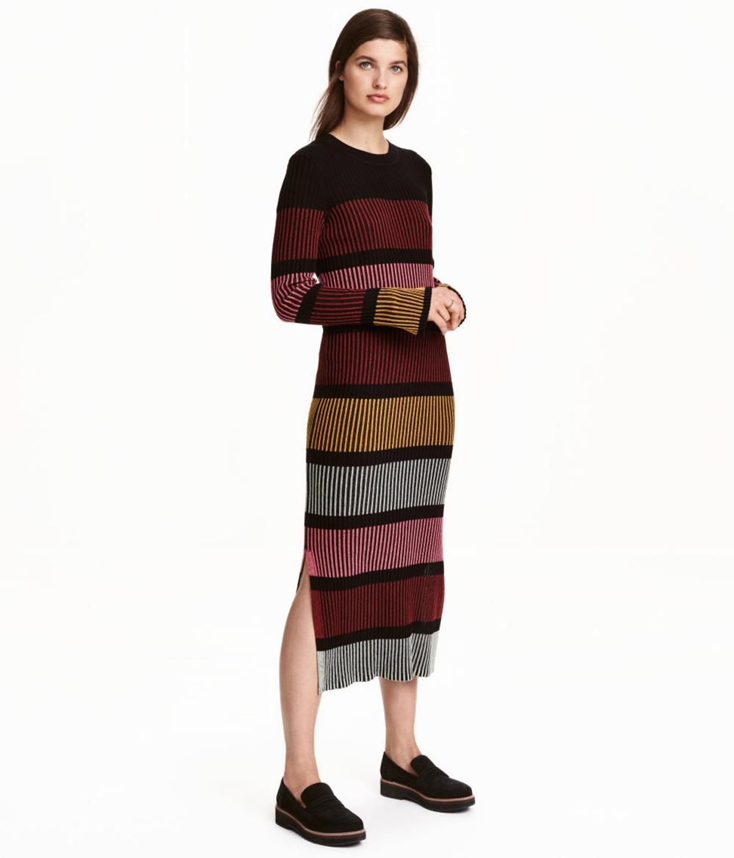 Kleid in Rippenstrick von H&M, um 30 Euro, schwarz gestreift