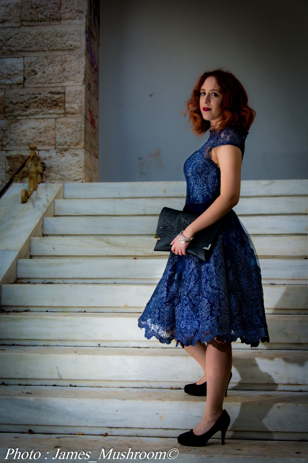 spotlights on the redhead, redhead, model, blogger, review, pretty, anna keni, anna, hot,sexy, chichi London,review occasion dress, navy, blue, lace,midi, white, laser-cut, ashley bridget,james mushroom