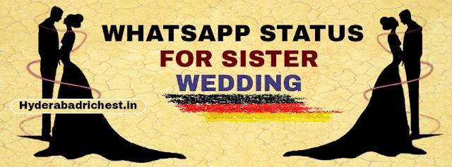 Whatsapp status for sister wedding