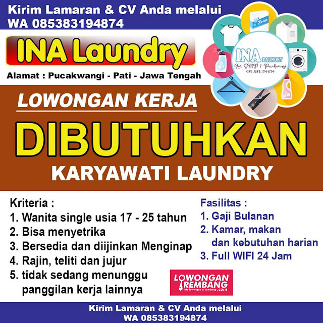 Lowongan Kerja Pegawai Ina Laundry Pucakwangi Pati Tanpa Syarat Pendidikan