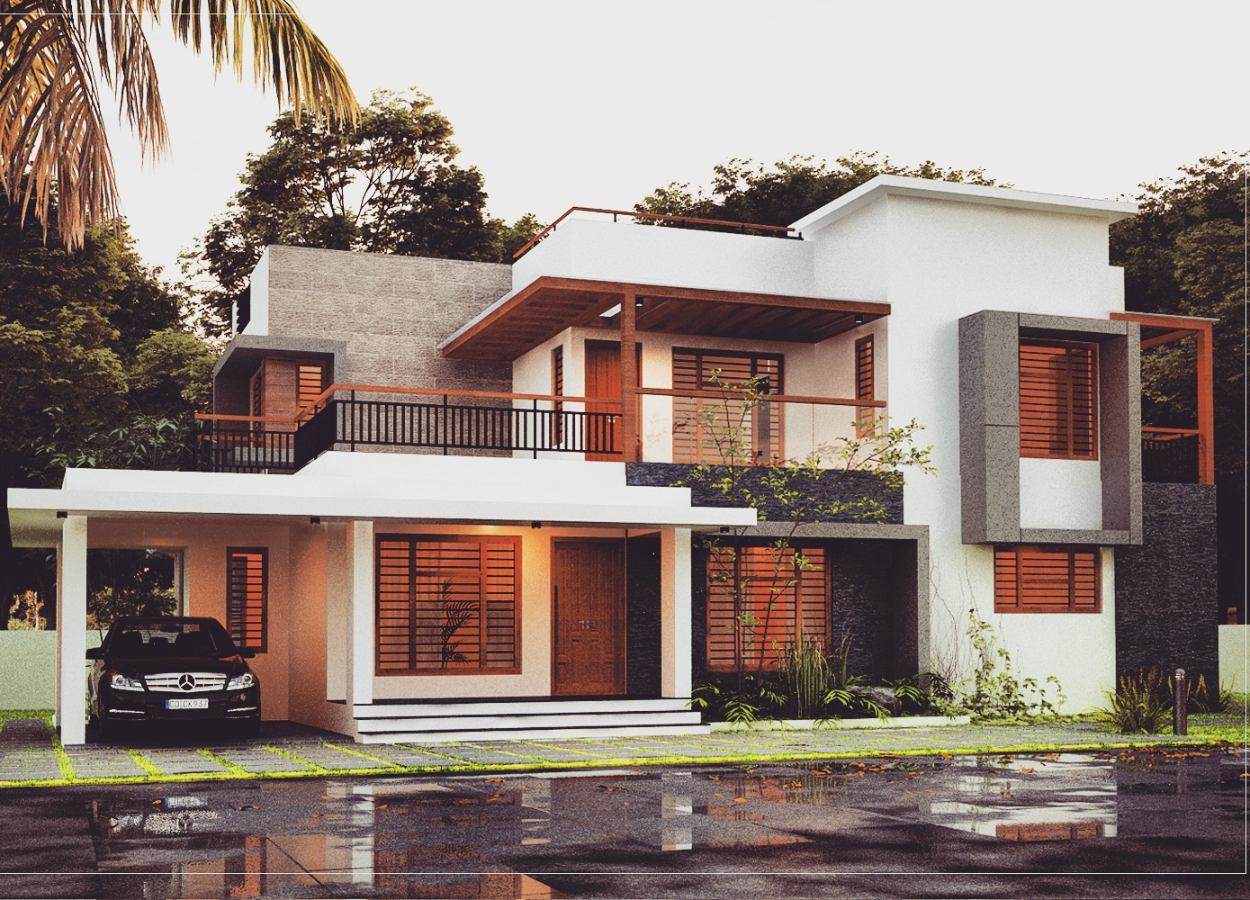 4 Bedroom House plans 2100 sq ft two floor Kerala Contemporary style