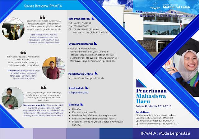 Informasi Penerimaan Mahasiswa Baru IPMAFA Tahun 2017