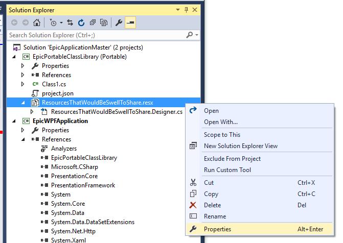 Visual Studio: Making a Resource File (resx)