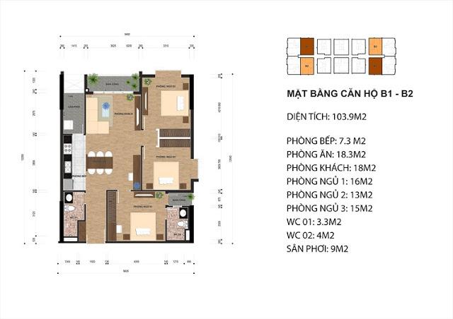 Thiết kế căn hộ B1 - B2 chung cư One 18 Ngọc Lâm