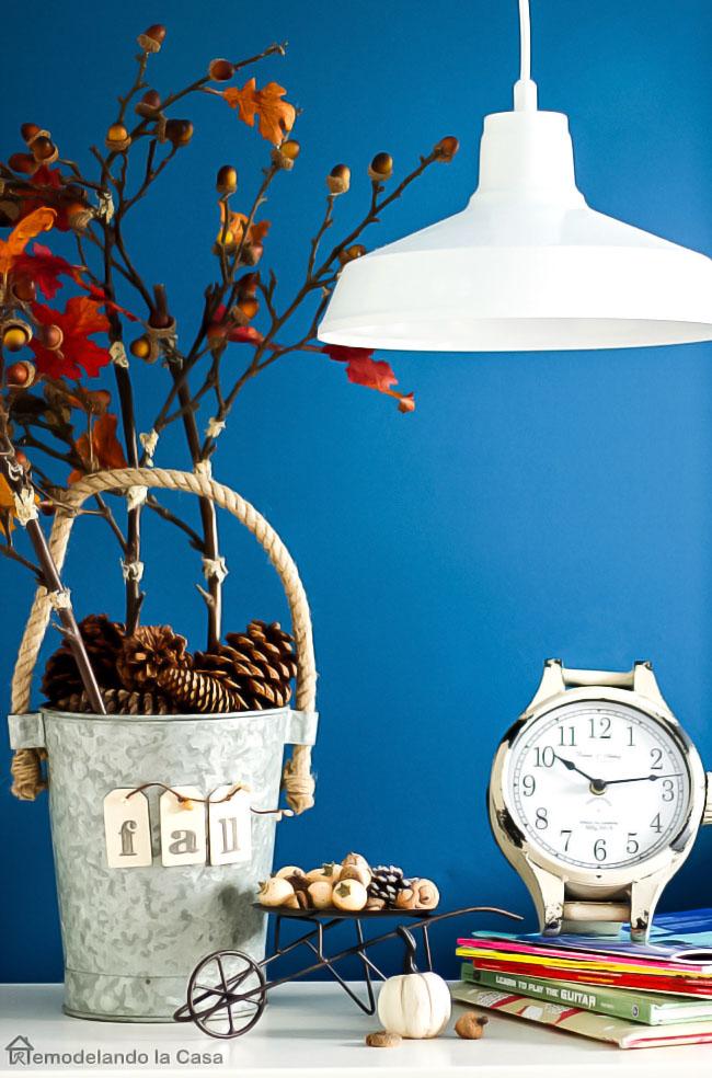 old clock, little wheelbarrow decorate for Fall, Aluminium vase with Fall branches decor