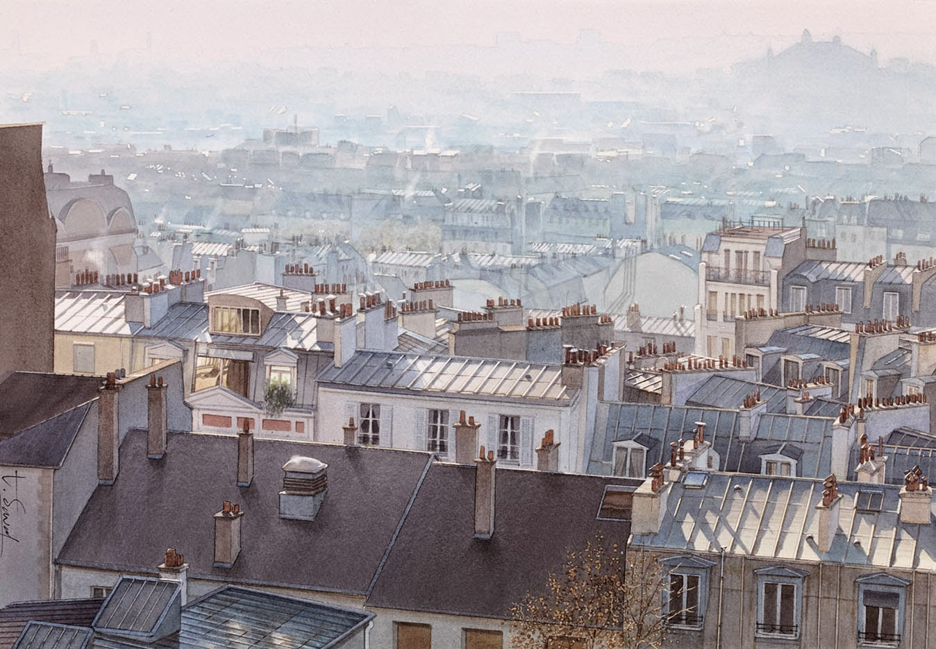 14-Paris-Thierry-Duval-Snippets-of Real-Life-in Watercolor-Paintings-www-designstack-co