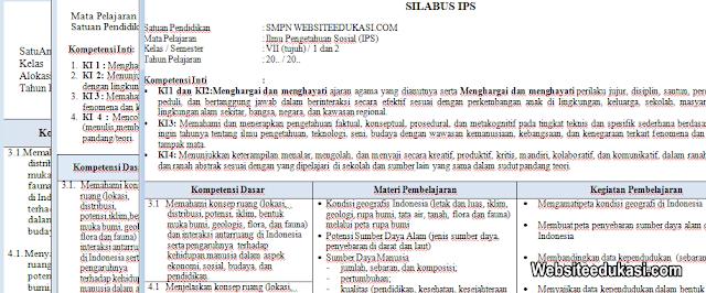 Silabus IPS Kelas 7 SMP/MTs Kurikulum 2013 Revisi Terbaru