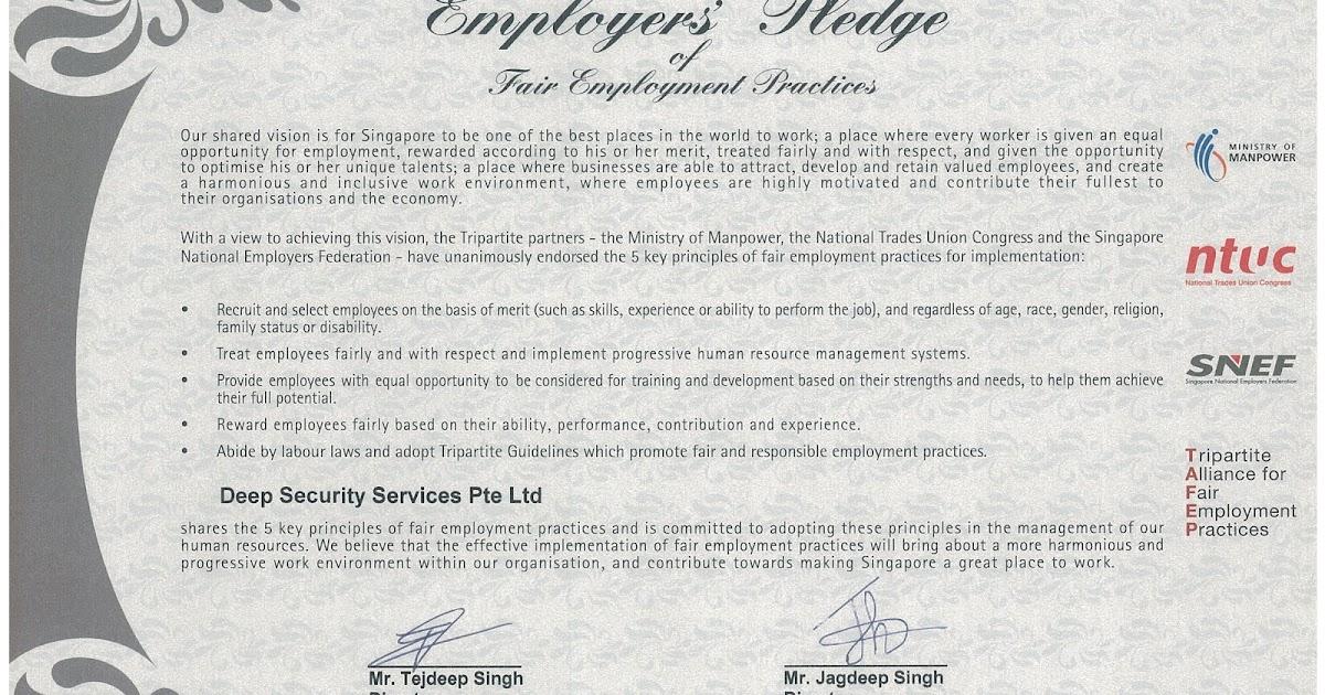 Employer's Pledge of Fair Employment Practices ( Deep Security )