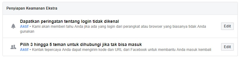 Keamanan Ekstra Facebook