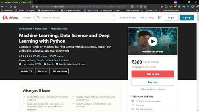 Udemy Machine Learning, Data Science and Deep Learning with Python