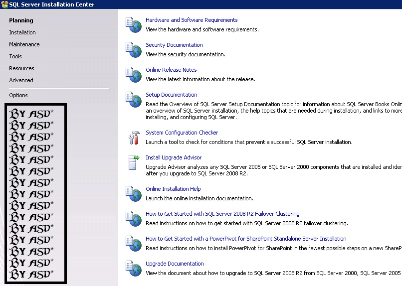 Interfaz inicial del SQL 2008