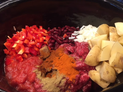 raw ingredients for Chunky Slow Cooker Beef Chilli Hash