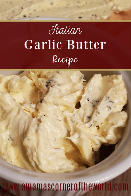 Pinnable image for a homemade garlic butter spread