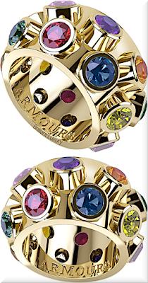 ♦Armoura 45 Degree ring in 18k yellow gold and round brilliant cut coloured diamonds #jewelry #armoura #brilliantluxury