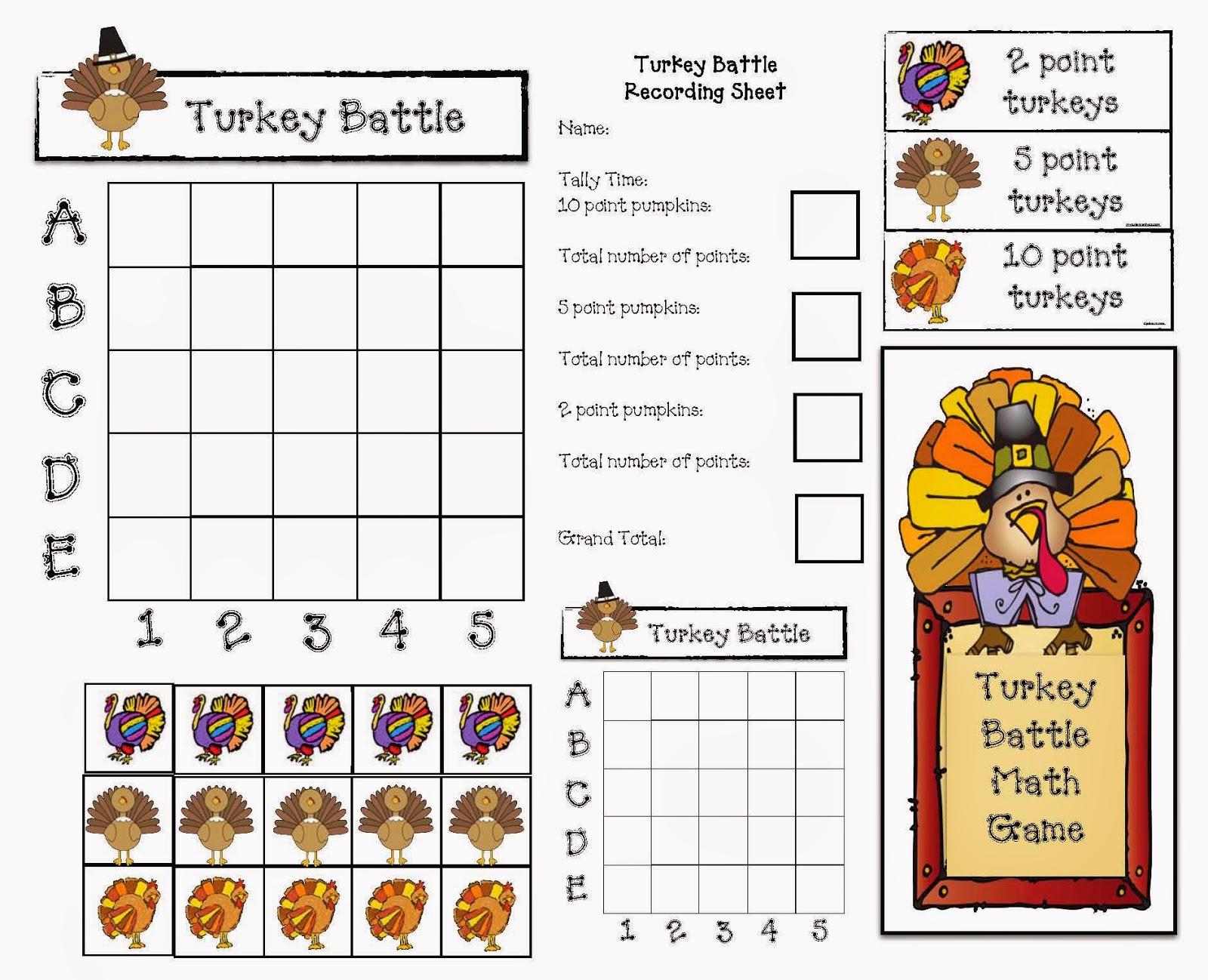 Classroom Freebies Turkey Battle A November Math Game