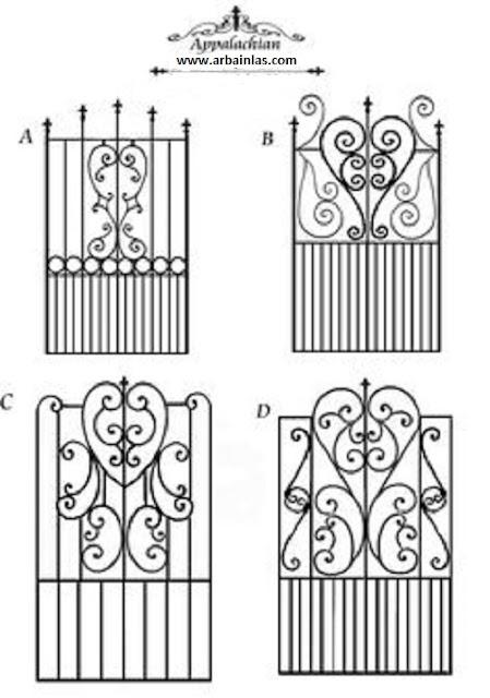 Desain Pintu dan Reling tangga tempa moderen-model