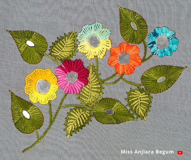 A little bit different hand embroidery mirror work
