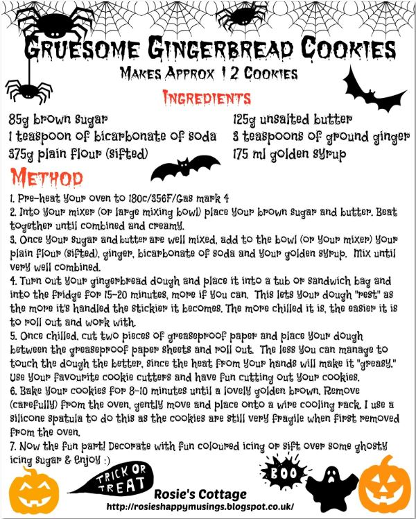 Gingerbread Cookies And A Fun & Spooky Recipe Printable 🎃