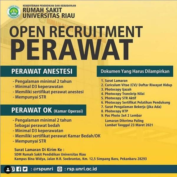 Open Rekruitment Perawat Rumah Sakit Universitas Riau Deadline 23 Maret 2021