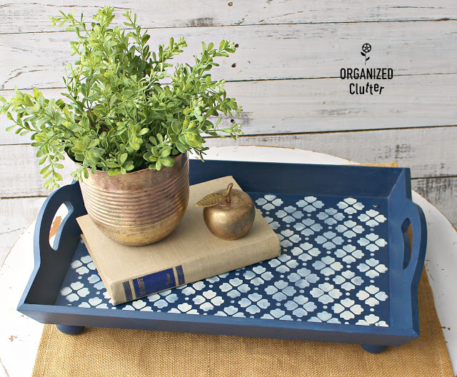 Photo of blue and white stenciled serving tray