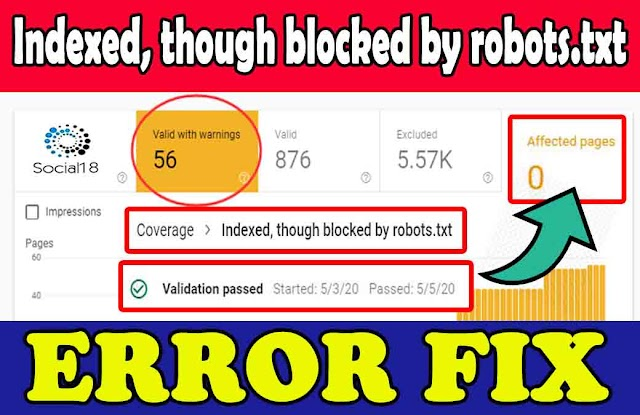 How to Fix Indexed, though blocked by robots.txt in Blogger- New Method in Hindi 2020