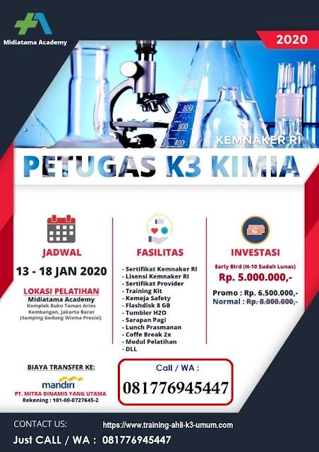 Petugas K3 Kimia murah tgl. 13-18 Januari 2020 di Jakarta