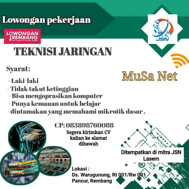 Lowongan Kerja Teknisi Jaringan Jaringanku Sarana Nusantara Rembang Tanpa Syarat Pendidikan