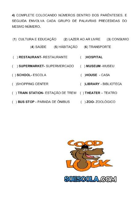 Avaliação de Inglês sobre Places, There is and There are, Prepositions, Imperative Form
