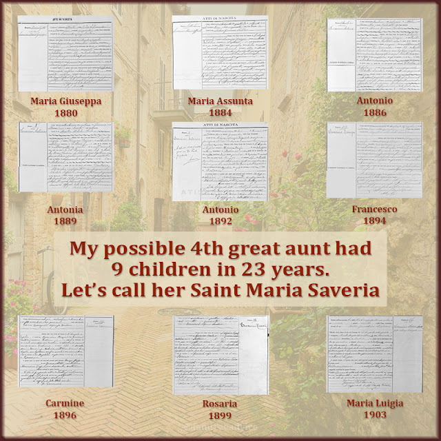 To find more clues about Maria Saveria, I gathered the birth records for her children.