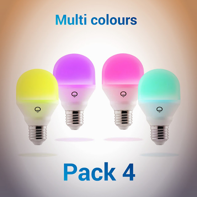 LIFX HB4L3A19MC08E26 Mini Color (A19) Wi-Fi Smart LED Light Bulb Adjustable, Multicolor, Dimmable, No Hub Required, Pack of 4 Online