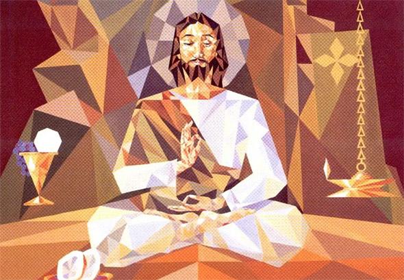 Ilustración de Jesús practicando yoga junto a un cáliz