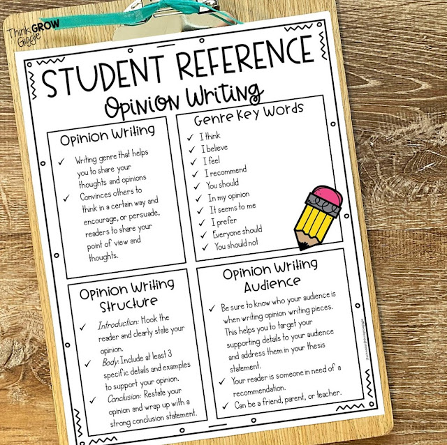opinion writing student reference page for interactive writing notebooks