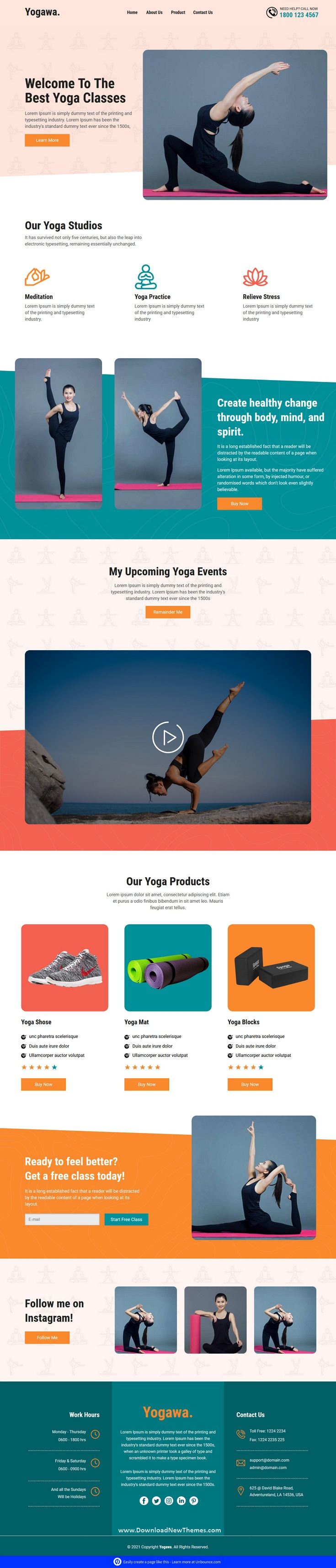 Yoga Unbounce Landing Page Template